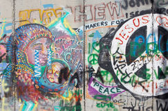 Bethlehem - The Detail of graffitti on the Separation barrier Royalty Free Stock Photos