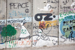 Bethlehem - The Detail of graffitti on the Separation barrier. The symbolic ladder of peace bound to the heaven Stock Image