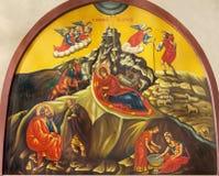 Bethlehem - die Ikone der Geburt Christi von der Geburt Christis-Kirche von Jahr 1975 durch unbekannten Künstler Lizenzfreies Stockbild