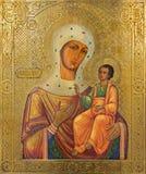 Bethlehem - die Ikone von Madonna in der syrischen orthodoxen Kirche durch unbekannten Künstler von 19 cent Lizenzfreies Stockbild