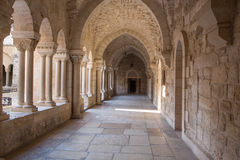 Bethlehem - The gothic corridor of atrium at St. Catharine church. BETHLEHEM, ISRAEL - MARCH 6, 2015: The gothic corridor of atrium at St. Catharine church stock photos