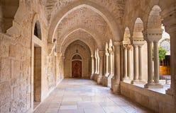 Bethlehem - The gothic corridor of atrium at St. Catharine church. Royalty Free Stock Photo