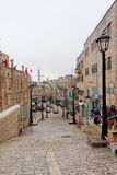 Bethlehem, Israel. - February 15.2017. Narrow street in the Arab quarter in Bethlehem. Royalty Free Stock Photo