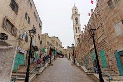Bethlehem, Israel. - February 15.2017. Narrow street in the Arab quarter in Bethlehem. Stock Photos