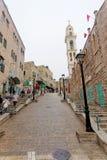 Bethlehem, Israel. - February 15.2017. Narrow street in the Arab quarter in Bethlehem. Royalty Free Stock Photography