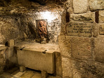 BETHLEHEM, Israel, am 12. Juli 2015: Grotte von St Jerome Stockfoto