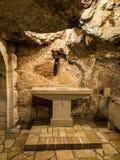 BETHLEHEM, Israel, am 12. Juli 2015: Kreuz in der Grotte Stockbild