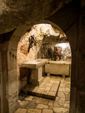 BETHLEHEM, Israel, July 12, 2015: Cross in the grotto. Royalty Free Stock Photo