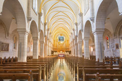 BETHLEHEM, ISRAEL - MARCH 6, 2015: The nave of St. Catharine church Stock Images