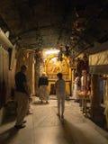 BETHLEHEM - 12 JUILLET 2015 : Une étoile argentée marque le s traditionnel Image libre de droits