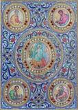 Bethlehem - le détail de l'attache du livre liturgique de 19 cent dans l'église orthodoxe syrienne Photos stock