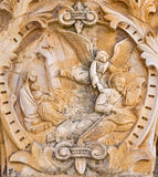 Bethlehem - The Madonna angel and shepherd. The relief on the portal in chapel of  Milk Grotto cave. Stock Images