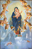 Bethlehem - The Madonna among angels from 20.cent. in Syrian orthodox church. Stock Photography