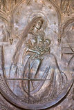Bethlehem - The Madonna on the modern bronze gate of cave Milk Grotto chapel Royalty Free Stock Photography
