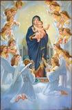 Bethlehem - Madonna unter Engeln von 20 cent in der syrischen orthodoxen Kirche Stockfotografie