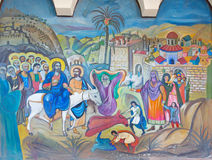 Bethlehem - The modern fresco of Palm Sunday from 20.cent. in Syrian orthodox church by artist K. Veniadis (1987). Royalty Free Stock Photos