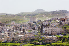 Bethlehem - The outlook over the settlement and Herodion. In the backgroud Royalty Free Stock Photo