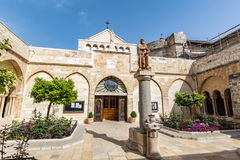 BETHLEHEM, PALESTINE - APRIL 6, 2016: The statue to the St. Jero Royalty Free Stock Photography