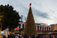 Bethlehem, Palestine - December 1, 2018: Christmas tree in Bethlehem stock image