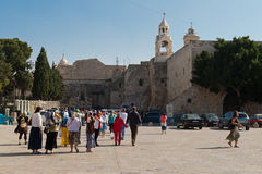 Pilgrims near the Church of the Nativityare  Stock Photography