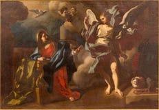 Bethlehem - a pintura do aviso na igreja de St Ann fotografia de stock