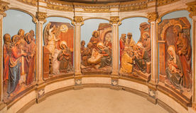 Bethlehem - The reliefs with the scenes from virgin Mary life on the altar of Milk Grotto. Stock Photography