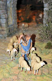 Bethlehem, the shepherd with sheep. Typical scene of Nativity scene mounted with ceramic figurines commemorating the birth of Jesus, Christmas in Spain stock photos