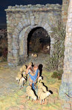 Bethlehem, the shepherd with sheep. Typical scene of Nativity scene mounted with ceramic figurines commemorating the birth of Jesus, Christmas in Spain royalty free stock photo