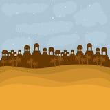 Bethlehem silhouette and desert design Stock Image
