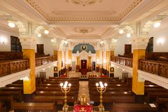 Bethlen teri犹太教堂,布达佩斯内部  免版税图库摄影