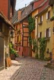 Betimmerde huizen in de Elzas, Frankrijk Stock Foto