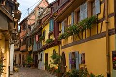 Betimmerde huizen in de Elzas, Frankrijk Royalty-vrije Stock Afbeeldingen