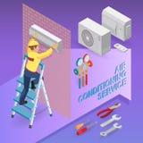 Betingande service för luft Isometriskt begrepp Arbetare utrustning royaltyfri illustrationer
