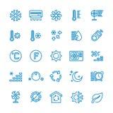 Betingande vektorlinje symboler för luft Temperatur fuktighet, uttorkning som kyler och värmer pictograms royaltyfri illustrationer