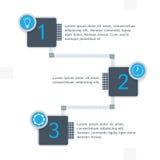 Betiteln Sie Einzelteile mit infographics Elementen in der blauen Farbe Lizenzfreie Stockfotos
