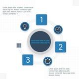 Betiteln Sie Einzelteile mit infographics Elementen, die in einem Kreis vereinbart werden Stockfotos