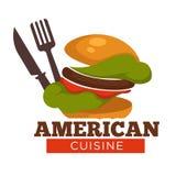 Betitlad, hamburgare-, kniv- och gaffelamerikansk kokkonst baner royaltyfri illustrationer