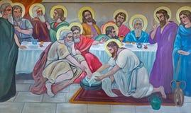 Betlehem - den moderna freskomålningen av fot som tvättar sig på den sista kvällsmålet från 20 cent i syriansk ortodox kyrka Arkivbilder