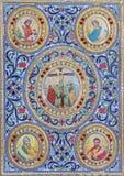 Betlehem - detaljen av bandet av den liturgiska boken från 19 cent i syriansk ortodox kyrka Royaltyfria Bilder