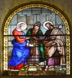 Betlehem kyrka av Kristi födelsemålat glassfönstret Arkivbilder