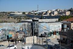 Betlehem Palestina Januari 6th 2017 - Aida Refugee Camp In Pa Royaltyfri Foto