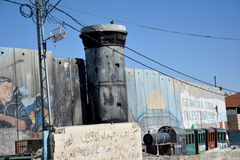 Betlehem Palestina Januari 6th 2017 - Aida Refugee Camp In Pa Royaltyfria Bilder
