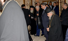 Betlehem Palestina Januari 6th 2017: Grekisk ortodox patriark Royaltyfri Fotografi
