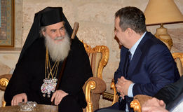 Betlehem Palestina Januari 6th 2017: Grekisk ortodox patriark Royaltyfria Bilder
