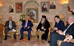 Betlehem Palestina Januari 6th 2017: Grekisk ortodox patriark Arkivfoton
