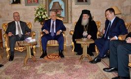 Betlehem Palestina Januari 6th 2017: Grekisk ortodox patriark Arkivfoto