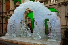 Betlehem scene made of ice, Graz, Austria Stock Photography