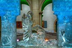 Betlehem scene made of ice, Graz, Austria Royalty Free Stock Images