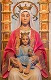 Betlejem - rzeźbiąca statua madonna od 20 cent niewiadomym artystą w Dojnej groty kaplicie jako prezent od Wenezuela Zdjęcia Royalty Free