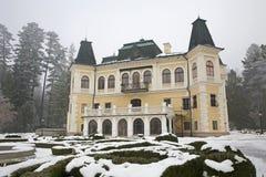 Betliar castle in winter fog - Slovakia Royalty Free Stock Photos
